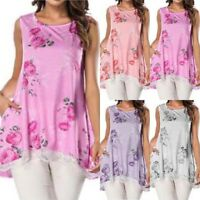Ladies Womens Summer Floral Sleeveless Tops Loose Tunic Blouse Shirt Swing Tee