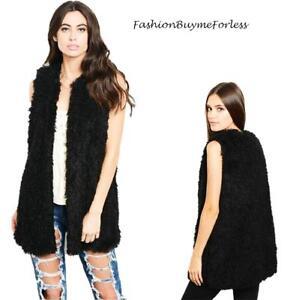 BOHO Hippie Black Faux Lamb Shearling Sherpa Haute Long Vest Jacket Coat S M L