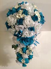 Malibu Turquoise White Silk Flower Wedding Bridal Bouquet Cascade 2pc