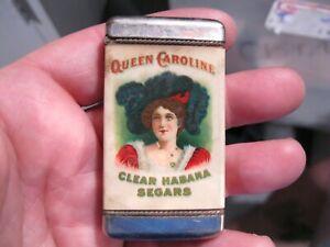 vintage advertising match safe queen caroline habana segars