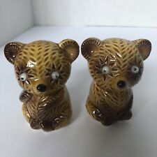 Rare Vintage Anthropomorphic Brown Bear Salt And Pepper Shakers With Jiggly Eyes