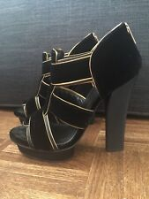 c077bd066463 New ListingTORY BURCH Black Gold Velvet Grecian Peep Toe Platform Heels SZ  7 RARE Sandals