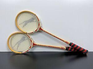 "RARE! Pair Vintage SLAZENGER Tennis Squash ""Fire Power"" BAMBOO RACQUETS Rackets"