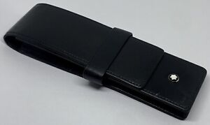 AUTHENTIC MONTBLANC Meisterstück Siena Black Leather 2 Pen/Case/Holder-