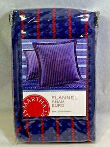 Martha Stewart Blue Fair Isle EURO Flannel Pillow Sham Blue/Red NEW