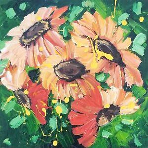 MARINA REHRMANN Original Modern Abstract Flower Sunflowers Art Van Gogh Style 🧿