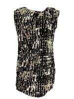 Kenneth Cole Reaction Women's M Tunic Sleeveless Top Ruched Brown White NWT