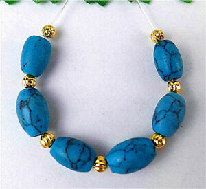 6Pcs 10x6mm Blue Turquoise Height Hole Rice Bead AP23089