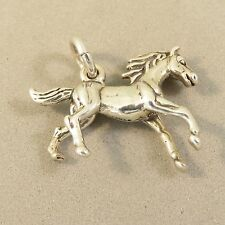 .925 Sterling Silver 3-D RUNNING HORSE CHARM NEW Pendant Mare Pony Colt 925 HS29