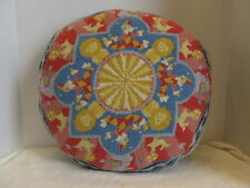 Hand Stitched Round Wool Needlepoint Pillow ~ Katha Diddel ~ Circus Clowns/Lions