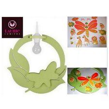 Laurie Lumiere Designer Verde Farfalla Bambini Cameretta Chiaro Ciondolo 60W E27