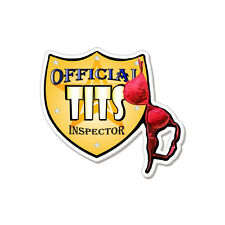 """Official Tits Inspector Funny Boobs Sexy car bumper sticker decal 4"""" x 4"""""""