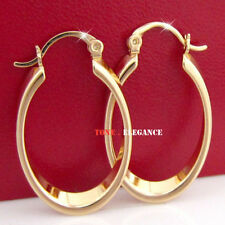 18k yellow gold GF oval hoop wedding womens vintage style solid earrings
