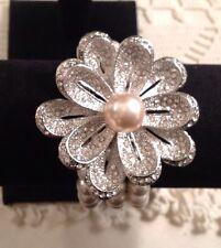 Victoria Leland New Faux Pearl/Rhinestone Stretch Bracelet