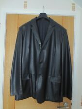 Mens Lambskin Black Leather Coat / Jacket by Jaeger, size XL