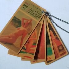 Vintage 1982 Pinup Girls Nude Plastic Calendar Keychain