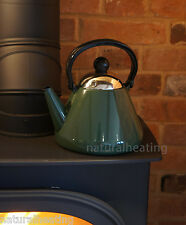 1.9L GREEN Enamel Kettle Wood burning Stove Multi Fuel Fire Aga Rayburn Water