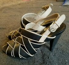 COLE HAAN Whitney High Heel Strappy Leather Sandals WOMENS SZ 5.5 $268 BLACK EUC