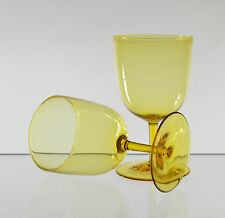 v57 PAIR FINE LEAD CRYSTAL LATE VICTORIAN ENGLISH YELLOW WINE GLASSES