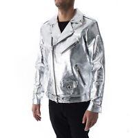 Italian handmade men genuine leather biker jacket METALLIC SILVER XXS to 2XL