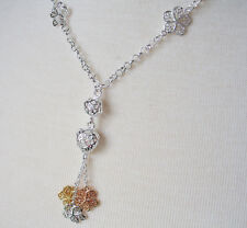 "18"" Rolo Chain With 3 Tone Flower Charm Pendant Sterling Silver Plated"