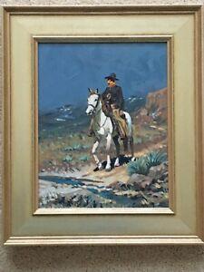 "Original Plein Air Western Cowboy Painting ""Riding Trail"" By Barry Euren A.I.F.A"