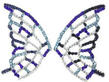Rhinestones Crystals Earrings Lovely Butterfly Wings Blue