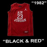 "BOYS MICHAEL JORDAN ""FLY SINCE 1928"" LEGACY 23 YOUTH JERSEY BLACK RED 959947 SZ"