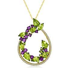 Le Vian ® Colgante-Peridot, piedras semipreciosas, Topacio Blanco Oro Miel - 14K ™