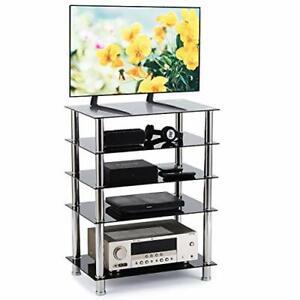 HiFi Rack AV Shelf TV Table Stand 5 Tiers Tempered Glass Shelves for