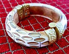 OLD Rare Ivory Color Brass Bronze Gold t. Antique Designer Vintage CUFF BRACELET