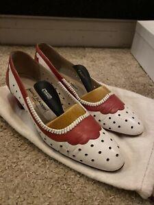 Manolo Blahnik Lovely Vintage White Red Shoes Heels 38.5 5.5 UK