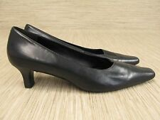 ECCO Black Leather Heels Women's Size US 10-11 EUR 41 Med Heel Slip On Loafers