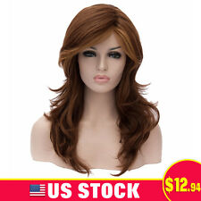 Natural Women Brown fluffy Curly wave Costume Cosplay Anime Wig Hair Long Wigs