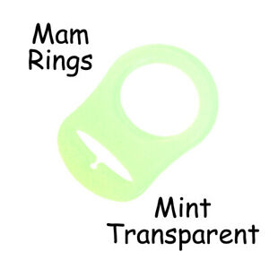 1 Mint Silicone Nuk Button MAM Ring Dummy / Pacifier Holder Clip Adapter