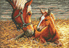 Cross Stitch Kit ~ Gold Collection Mom & Baby Horses Good Morning #70-65119