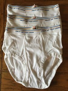 Vintage 90s Fruit Of The Loom White Briefs 3 Pair BOYS Size 10 Gold Blue Stripes