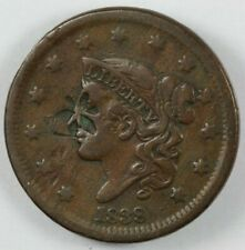 1838 Coronet Head Large Cent 1C - Counterstamped