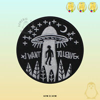 I want to Leave Novelty Embroidered Iron On Patch Alien Sew On Badge Applique