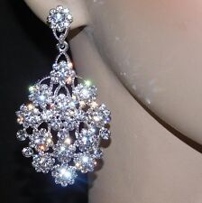 Flower Bridal Earrings Silver Clear Rhinestone Crystal