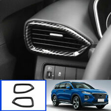 For Hyundai Santa Fe 2019 Carbon Fiber Look Dashboard Air Vent Frame Cover Trims