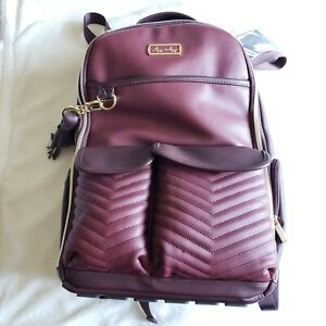 Itzy Ritzy Boss Diaper Bag Backpack Merlot Maroon Limited Edition Vegan Leather