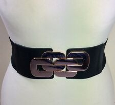 THICK ELASTICATED BLACK WAIST BELT / LEATHER & GOLD METAL BUCKLE / FASHION / 49