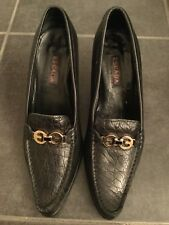 ESCADA Black Loafer Croc Embossed Leather Pump 37/7.5 US