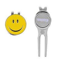 Smile Face Magnetic Hat Clip with Golf Ball Marker + Golf Divot Repair Tool