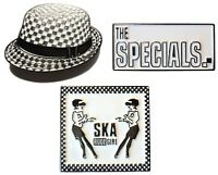 Specials AKA 2 Tone Rude Girl Band Hat Metal Enamel Badge Set Scooterists MODS