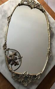 Vintage VANITY Tray Mirror Filigree Ornate Floral Hollywood Regency  20 By 10