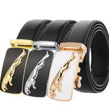 Luxury Men's Jaguar Automatic Buckle Belt Genuine Leather Ratchet Strap Jeans