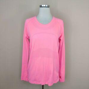Lululemon Size 12 Pink Swiftly Tech Long Sleeve Top Shirt Thumb Holes Running