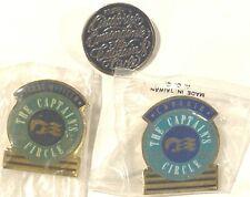 3 Vintage Princess Cruise Captains Circle Pins, Collectors Collectible